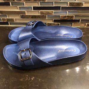 NWOT Birkenstock blue Madrid waterproof slides 40
